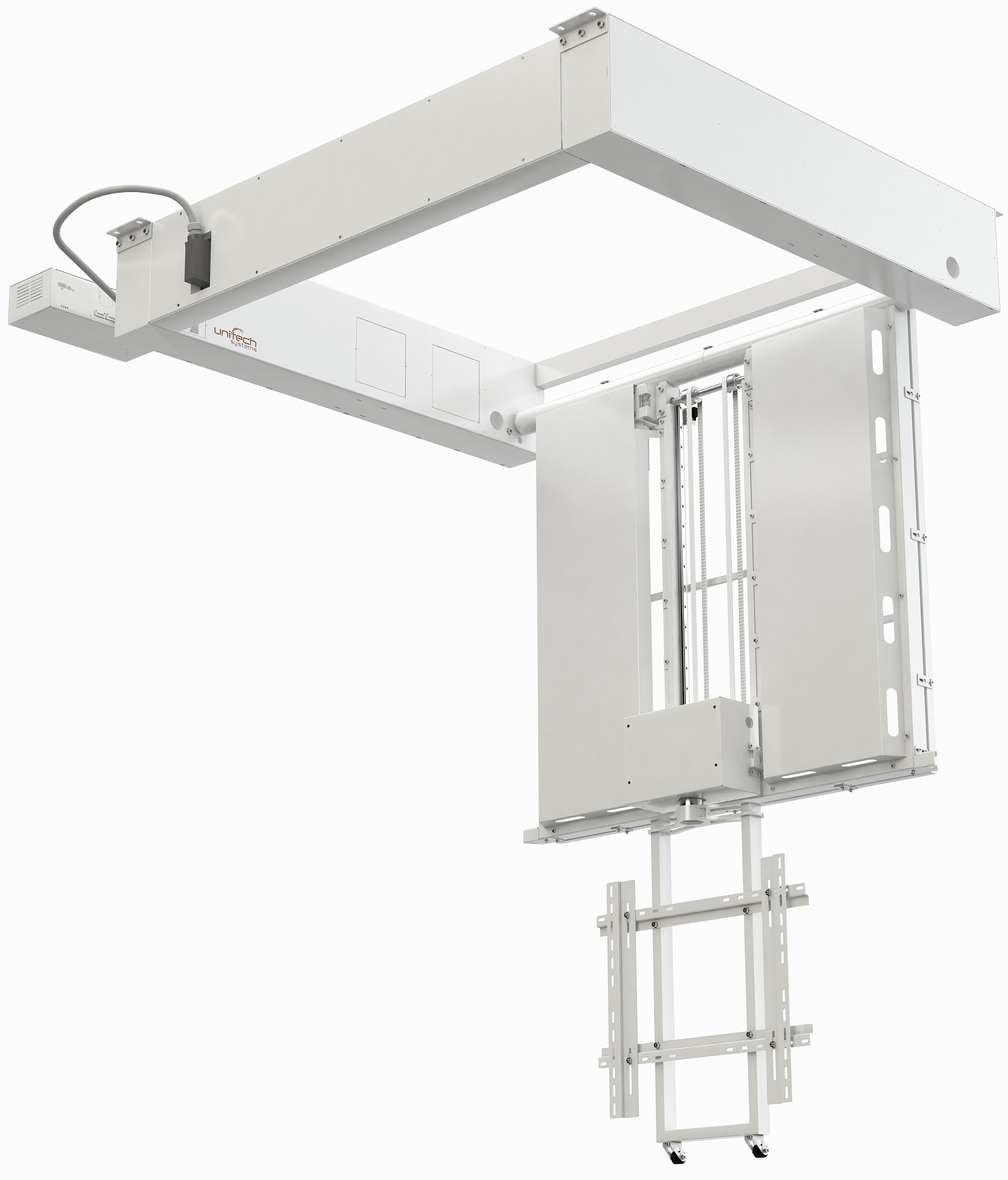 Flat Panel Ceiling Lift with vertical motion and rotation FPLCV2-42-50+R+LM+LOCK