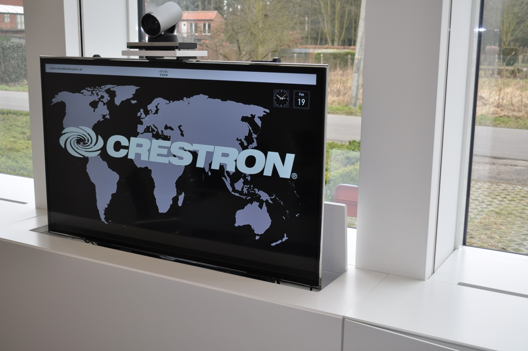 Crestron board room equiped with Unitech Systems FPLT lifts 19